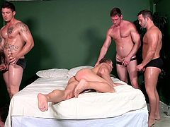 Muscled, oiled and hot, these big boys are having some fun, but the one in the middle is the soul of the party. He's a greedy whore with hot biceps, a delicious ass and a mouth that drools for cock and semen! Check them out, how much fun they have together and how our boy want all the dicks for himself.