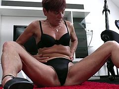 Experienced but just as horny as she used to be when she was a young slut, this lustful lady shows us that with age, women become even more juicy! Make yourself comfortable, relax and enjoy what this saggy yet lustful piece of pussy has to offer. Oh yeah, she burns with desire, as she plays with herself.