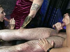 Pornstars in costume fucked by a pair of big dick guys