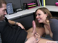 Dark haired busty tramp in stockings pleases her kinky boss with stout BJ in the office