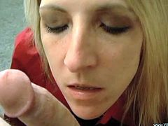 This is a hardcore blowjob scene with a hot blonde ball licking and serving the huge cock a wild handjob in hot orgasm.