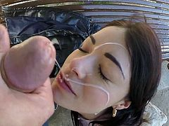 Visit official Bang Bros Network's HomepageAva Dalush looks amazing with cum on her fae after sucking and having her shaved pussy drilled in proper outdoor porn