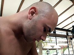 Anita Hengher gets her mouth fucked hard and deep by Rocco Siffredi after back yard fucking