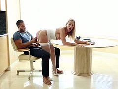 Simone Monay gets her lover horny right after breakfast. She doesn't want to eat anything else but his load of sperm, so he fucks her and feeds her with it.