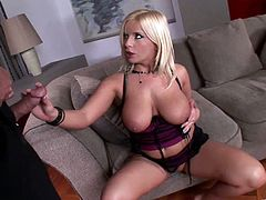 Busty Lucy Love sucks dick and gets fucked and titties jizzed