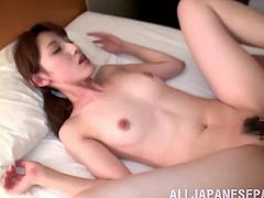 He wakes his sleeping Asian girlfriend and fucks her tight cunt