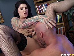 Bald headed dude Johnny Sins fucks furiously bosomy whore Darling Danika