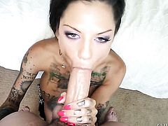 Jonni Darkko wants to drill saucy Bonnie Rottens juicy mouth forever