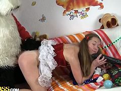 Christmas came early this year as the room is decorated with all the festive decorations. A santa panda arrives with a gift for her..a huge dildo! She sucks on the huge dildo while the horny panda fucks her tight pussy!