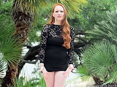 Lucy Ohara is a busty redheaded chick with a gorgeous face and fair skin. She masturbates on the beach by riding a plastic cock shaped like a man's crotch.