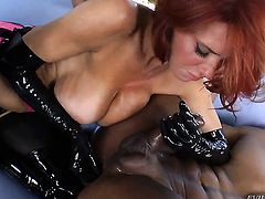Veronica Avluv gives giving oral pleasure to hot dude Robert Axel