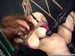 Hardcore Punishments is ready to drive you crazy with this alluring free porn video where a nasty Japanese sex slave gets bound and perverted by a masked master.