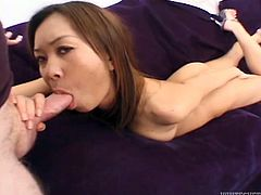 Asian chick blows huge cock and gets her tight punani fucked hard