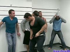 What happens when you leave five bad-ass horny studs in a holding room? Well, they have a Jizz Orgy! This hot group fuck session features Tommy Defendi, Landon Conrad, Marcus Ruhl, Liam Magnuson & Trevor Knight.