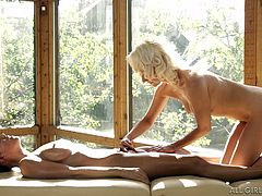 Natasha is a talented hot masseuse. The blonde-haired babe seems really caring and concentrated on rubbing sweet Abigail's nice tits. After oiling the brunette's wonderful body, the slutty masseuse takes off her clothes and begins eating the peachy pussy with a lusty desire. Click to see Abigail's reaction...
