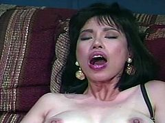 Hot asian secretary get fucked deep by the massive black dick of her boss.