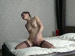 Agatha is your MILF newcomer and she did great on her first time as she teases in her bed with her hairy muff and started sitting on a huge dildo drilling her wet.