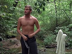 Jack was outdoor, alone and naked. He was jerking his cock, while Zeb Atlas was checking him out, and masturbating too. Jack rubbed Zeb's cock and took it deep in his throat. While he was giving the blowjob, he kept jerking and finally, they took off of their loads together.