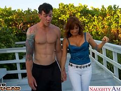 Big breasted redhead cougar Tara Holiday sucking and fucking a large cock