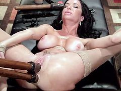 Veronica can't get away easily, not without an extreme brutal orgasm. Pain and pleasure melt in exciting bdsm activities. The brunette milf has her legs and hands tied up together in a rope bondage. The busty bitch moans, as her cunt is permanently aroused with a vibrator. Dildos in pussy and ass are included.