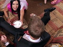 Milf India is celebrating her bachelorette party with her sexy girlfriends. She sucks on a dildo and shoves it deep into her pussy. She sucks off the handsome guy's cock and takes his huge load. His cum drips into the bowl of dip, she is holding.