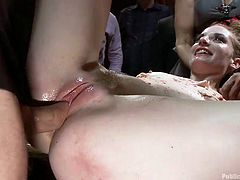 Ela Darling seems very excited, when her pussy is eaten with obedience by another slutty bitch. But nothing pleases her more than being fucked wildly. Click to see the naked slim blonde with small tits opening widely her long legs, under the vicious regards of all those present at her public humiliation.