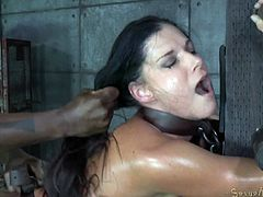 Stunning raven haired MILF India Summer got belted down and fucked rough