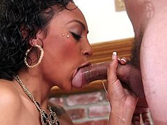 Cherry is a lovely ebony lady, with great skin and beautiful small tits, who is just waiting to have fun with a horny guy. Her wish turns to reality, as it doesn't pass much until the seductive slut is noticed... Click to see the curly-haired bitch sucking cock and balls with sheer dedication.