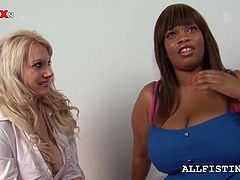 Sexy blondie working a lesbo BBW ebony's huge boobies