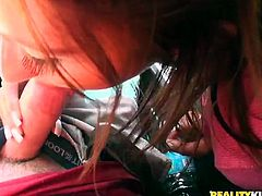 Lustful chick Deanna gets her dark pussy fucked in the car