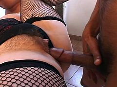 This hot fat MILF gets drilled hard by two hard black cocks in this hardcore movie