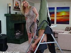 Busty cock sucking momma Julia Ann gives this horny youngster the erotic attention that he is craving for and fantasizing about everytime he sees her gorgeous tits.