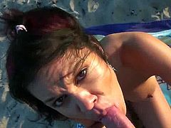 Ruby and I were at the beach enjoying the nice weather, when all of a sudden we both feel really horny. She pulled down her panties and I slide my cock in her vagina. It felt so nice and warm. She sucked me off and got on her knees, to take my sperm.