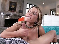 Nikki Sexx with bubbly butt tugs on cock in steamy handjob action