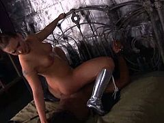 Hottie dominatrix got a black slave and she tied him up to crave for her master and she instructed to fuck not her pussy but her tight butt in different positions.