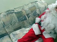 Horny fat bitch gets drilled by this guy dressed in a santa claus suit