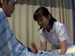 Sensuous Asian Nurse having fun And BJing A Lucky Patient's ram rod