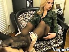 Licking This Blonde Babes Nylon Covered Foot