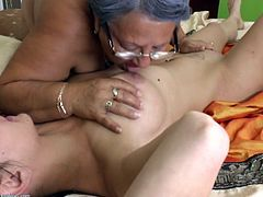 One old the other a bit younger, these two sluts love to fuck and we enjoy watching them. The younger one lays on her back and gives herself to the more experienced slut, that takes advantage of her young body and wet pussy. She begins to feast on her tits and lustfully rubs that pussy. Enjoy.