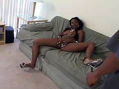 This ebony has a big bubble butt and takes his cock in her mouth before she gets banged hard by his ready cock in this free tube movie.
