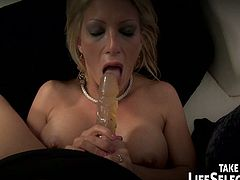 Courtesy of Life Selector you can see how a horny blonde milf in stockings gets dped with toys by her man while assuming some very interesting poses in this free porn video.