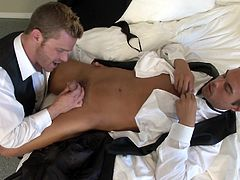 Rocco and Landon just could not wait to fuck each other. So, they decided to hire a room in a hotel immediately. Landon was so horny, he sucked Rocco's dick, after they arrived in the room. There was no time to undress and Landon stroked Rocco's dick and made sure it was very hard, and full of cum, and ready to explode in him.
