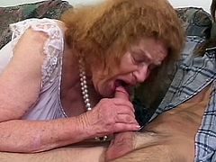 Old lady with walker swallows young dude's cock and sucks his balls
