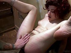 She was a naughty little cunt and now, it's time to pay for her sins. Miss Ingrid was taken to the Dungeon Sex, where she was tied on the wall by her feet. As she staid with her feet up, strapped on the wall, Christian took a rod and spank her sweet and soft pussy harder and harder, before drilling it.