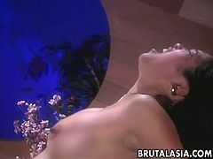 Tasty looking Asian hoe Mika Tan gives her head on 69 pose