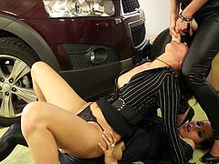 Tantalizing lesbian chick gets her shaved twat drilled with huge strap on cock