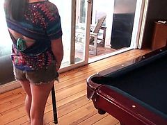 It seems that Nina is usually good with games that involve balls. She handles the snooker game pretty good, but how will she handle another kind of game with balls, my balls. She approaches me like a player, kneels and sucks my cock and balls hard. I need to repay her with a deep hard fuck!