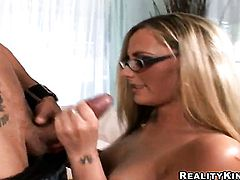 Blonde with phat ass and smooth muff puts her soft lips on guys erect pole