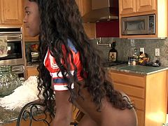 Hot chocolate babe got black hard nipples on top of her nice small tits and tight round ass. A chance to lick that ebony cheerleader babe, Steven wouldn't miss it for the world. So, took off her clothes in steps with licking and sucking her beautiful chocolaty body, before starting the drilling!