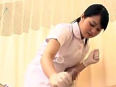 Erotic Oriental Nurse masturbating Off the Patient inside hand job mov